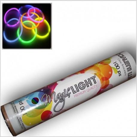 100 Braccialetti luminosi ASSORTITI (8 colori) in tubo da 100pz