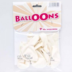 """Palloncini bianchi """"W gli Sposi"""" 10 pz"""