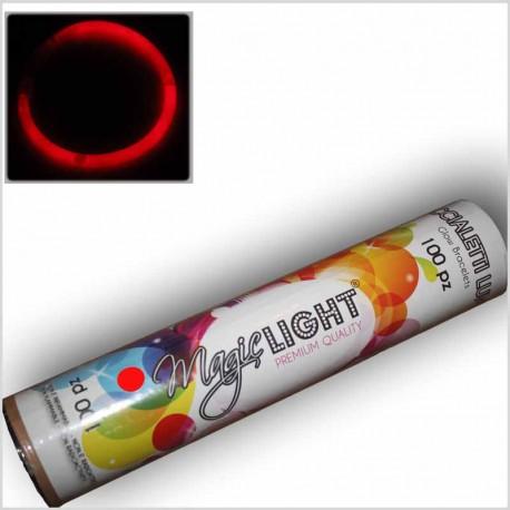 Braccialetti Luminosi ROSSI in tubo da 100 Pz